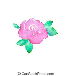 vecteur, aquarelle, flower., hand-drawn, rose., drawing., vrai, illustration.