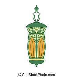 vecteur, arabe, lampe, illustration, coloré