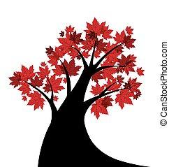 vecteur, arbre, érable