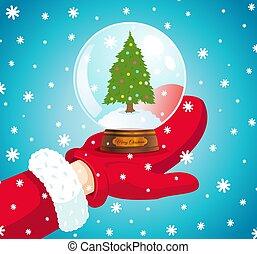 vecteur, arbre., boule de neige, noël