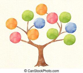vecteur, arbre, illustration, aquarelle, infographics