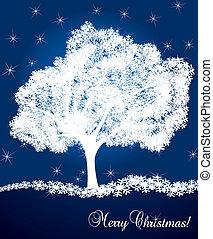 vecteur, arbre, neige, fond
