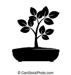 vecteur, arbre., noir, illustration.