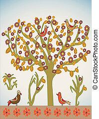 vecteur, arbre, oiseaux