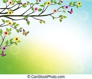vecteur, arbre, printemps, fond