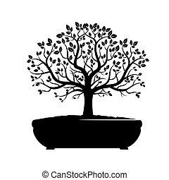 vecteur, arbre., vert