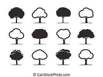 vecteur, arbres., ensemble, noir, illustration.