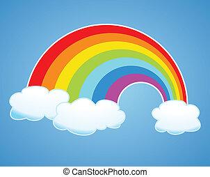 vecteur, arc-en-ciel, et, nuages, dans, les, ciel