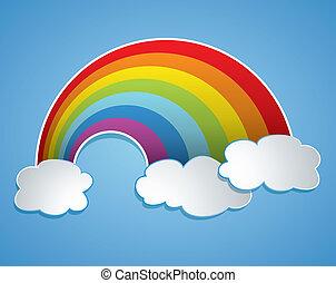 vecteur, arc-en-ciel, et, nuages