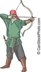 vecteur, archer.