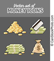 vecteur, argent, ensemble, icônes