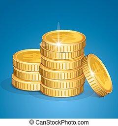 vecteur, argent, pièces, -, pile