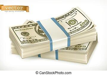 vecteur, argent., pile, icône, 3d