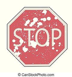 vecteur, arrêt, illustration, signe