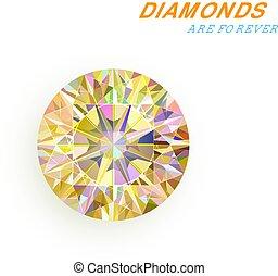 vecteur, arrière-plan., blanc, diamant, isolé