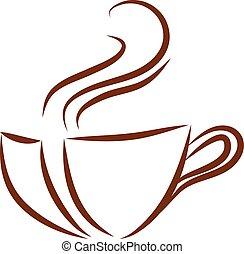 vecteur, arrière-plan brun, tasse, logo, blanc, couleur, café, illustration