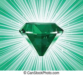 vecteur, arrière-plan., diamant, vert