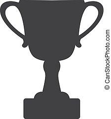 vecteur, arrière-plan., icône tasse, noir, trophée, blanc, illustration