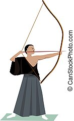 vecteur, arrière-plan., illustration, blanc, archer