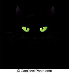 vecteur, arrière-plan noir, chat