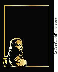 vecteur, arrière-plan noir, or, jésus