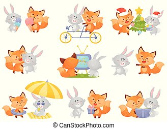 vecteur, arrière-plan., renard, lièvre, humanized, différent, situations, blanc, illustration, ensemble.