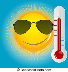 vecteur, arrière-plan soleil, heureux, illustration