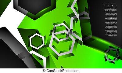 vecteur, arrière-plan., vert, hexagone, pattern., fond couleur, illustration, n'importe quel, résumé, chevaucher
