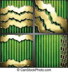 vecteur, arrière-plan vert, or