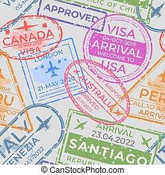 vecteur, arrivée, elements., texture, voyage, aéroport, passeport, départ, pattern., seamless, timbres, timbres, immigration, page