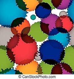 vecteur, arrondi, modèle, seamless, chevauchement, éclaboussure, encre, formes