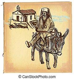 vecteur, art, coloré, croquis, -, main, prêtre, freehand, dessiné, ligne