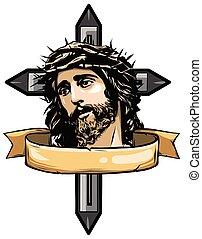 vecteur, art, figure, jésus, illustration, christ, conception