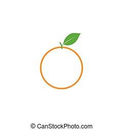 vecteur, art graphique, agrafe, isolé, fruit, conception, gabarit, orange