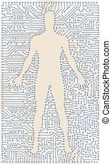 vecteur, art, résumé, silhouette., élevé, technologie ordinateur, planche, circuit, homme numérique