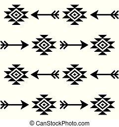 vecteur, art, schéma structure, tribal, seamless, aztèque, indien, flèches, navajo, conception