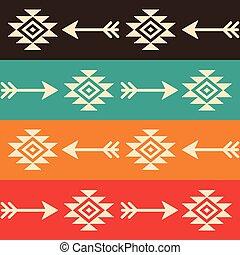 vecteur, art, schéma structure, tribal, seamless, aztèque, indien, flèches, navajo, conception, retro