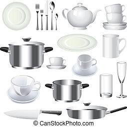 vecteur, articles, ensemble, vaisselle, cuisine