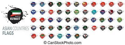 vecteur, asiatique, national, drapeaux, countries., illustrations