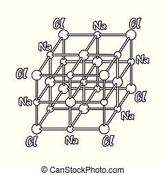 vecteur, assaisonnement, stock., icône, isolé, ensemble, objet, symbole., chimique, sel