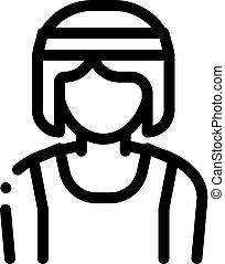 vecteur, athlète, contour, femme, sportif, illustration, icône