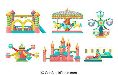vecteur, attractions, château, trampoline, gonflable, carrousels, parc attractions, illustration, ensemble