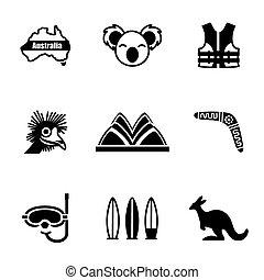 vecteur, australie, ensemble, icône