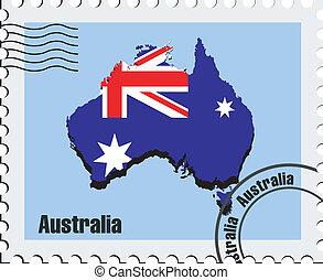 vecteur, australie, timbre