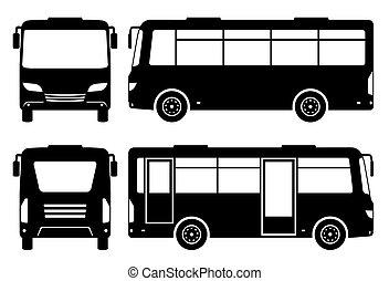 vecteur, autobus, vue, mini, silhouette, illustration, devant, dos, côté