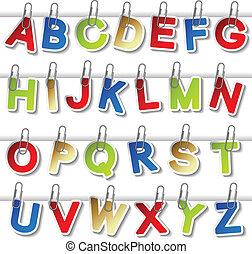 vecteur, autocollants, de, alphabet, à, trombone, -, propre,...