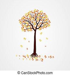 vecteur, automne, automne, illustration, arbre