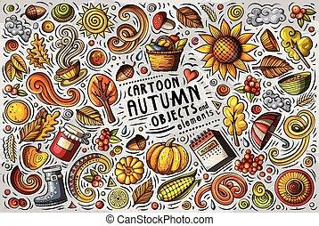 vecteur, automne, ensemble, griffonnage, articles, symboles, objets, dessin animé