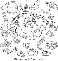 vecteur, automne, ensemble, griffonnage, theme., main, symboles, sketchy, objets, dessiné, favourites, dessin animé