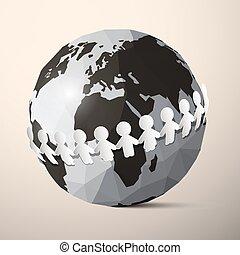 vecteur, autour de, gens, globe, -, papier, tenant mains, la terre